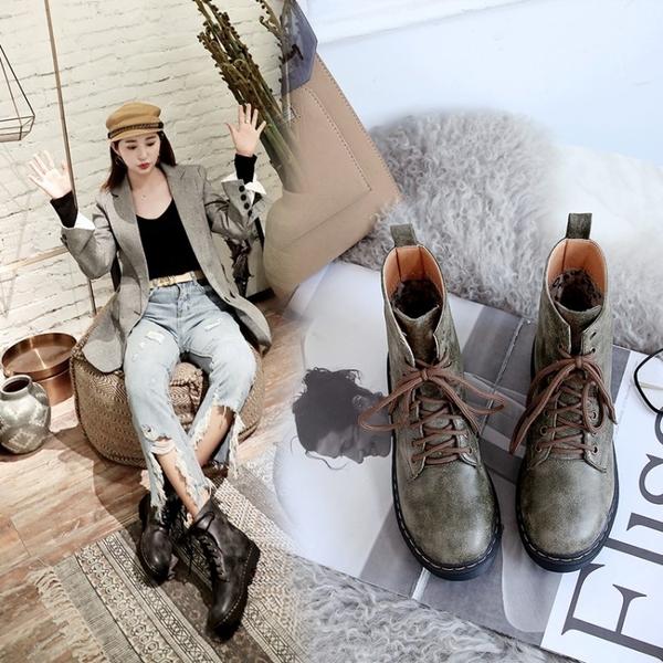 大尺碼女鞋34-43  韓版時尚前繫帶馬丁靴低跟短靴~3色