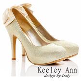★零碼出清★Keeley Ann  浪漫新娘 ~  後緞帶蝴蝶結金蔥高跟鞋(淺金)【ANGEL系列】