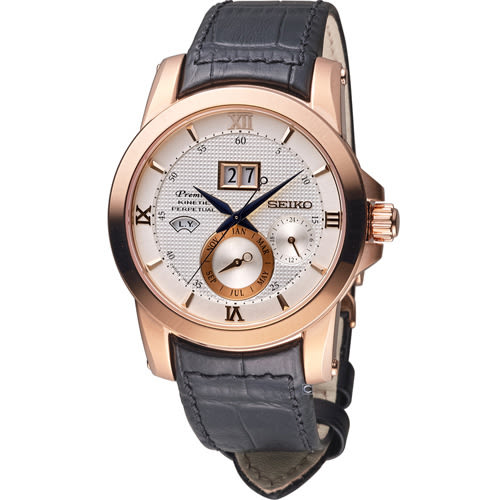 SEIKO 精工 人動電能自動追時萬年曆腕錶 7D48-0AR0P SNP138J1