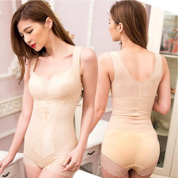420丹塑身衣 一件搞定 雙層網紗美體連身塑身衣 M-XXL(膚色)-伊黛爾