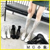MG 膝上靴-涼靴鏤空粗跟馬丁靴高跟鞋長靴