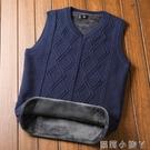 秋冬季背心男士毛衣馬甲加絨加厚保暖v領針織衫潮坎肩無袖毛線衣 蘿莉新品