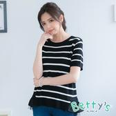betty's貝蒂思 假兩件蕾絲拼接針織衫(黑色)