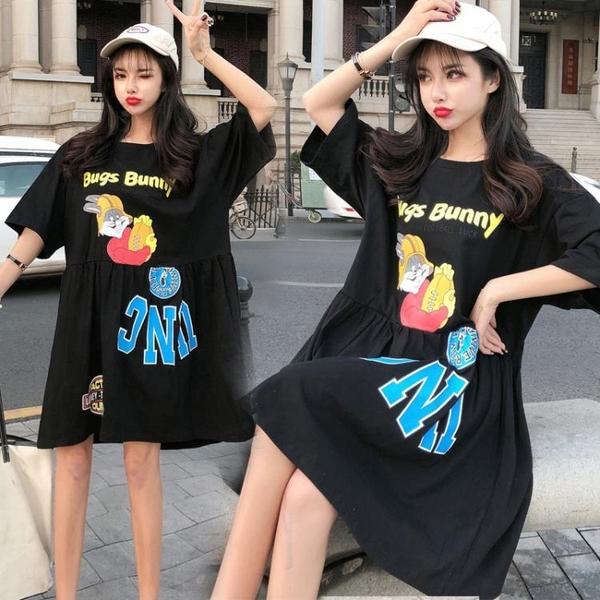 L-4XL胖妹妹大碼洋裝連身裙~大碼洋氣圓領卡通t恤胖mm套頭減齡連身裙3F061A衣時尚