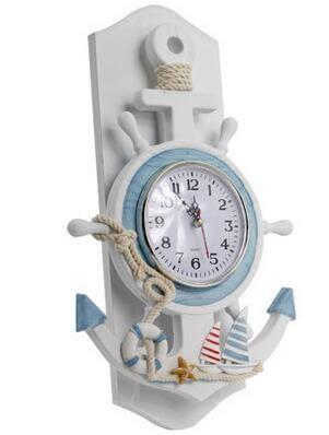 地中海船錨掛鐘 臥室客廳創意鐘錶 木質家居表個性時鐘ZS-1