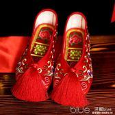 結婚繡花鞋女新娘鞋婚鞋平底鞋秀禾服鞋布底鞋女中式婚鞋刺繡婚鞋 深藏blue