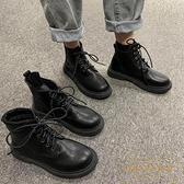 短靴子女英倫風秋季瘦瘦單靴馬丁靴潮中筒靴【繁星小鎮】