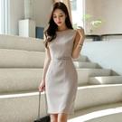職業洋裝 秋冬裝女新款韓版OL時尚簡約氣質修身圓領無袖包臀連衣裙 莎瓦迪卡