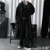 風衣外套 暗黑系套裝春秋季新款寬鬆風衣男中長款寬鬆潮流過膝外套 小天使