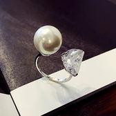 戒指 女時尚個性食指韓國百搭潮人珍珠關節開口指環日韓手飾品