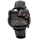Hello Kitty 豔彩經典造型腕錶(黑)