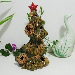 陶瓷工藝品出口歐美聖誕節禮品擺件家居飾品擺設雕花幸運樹閃燈