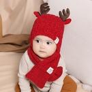 新年護耳帽 寶寶秋冬帽 童帽 寶寶帽 保暖帽 麋鹿角針織帽子圍巾兩件套 (1歲-2歲)【ZJA024】