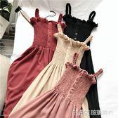 吊帶裙/洋裝 內搭洋裝氣質百搭木耳邊壓褶顯瘦抹胸吊帶中長款雪紡裙    琉璃美衣