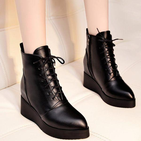內增高鞋 系帶馬丁高跟靴 米蘭shoe
