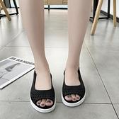 2021年新款百搭女涼鞋魚嘴塑料防滑耐磨女鞋坡跟護士鞋鏤空工作鞋 夏季新品