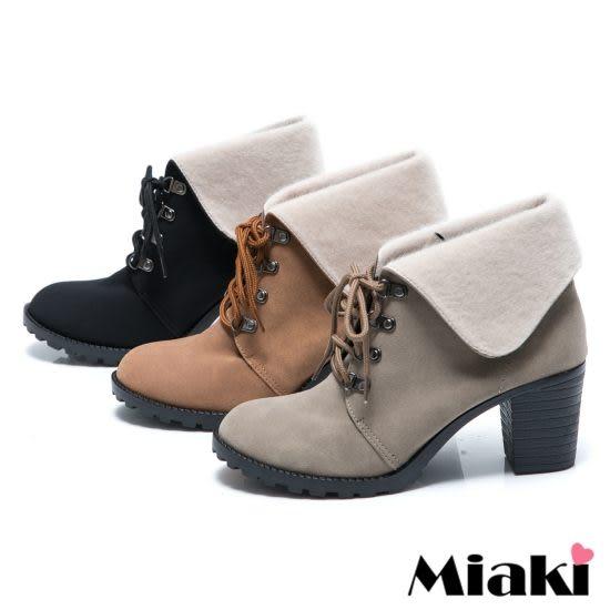 日韓熱賣反折綁帶粗跟踝靴短靴牛津靴(MIT)