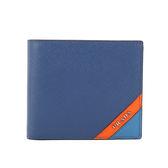 【PRADA】 拼色防刮牛皮二折對開零錢袋短夾(藍/紅)2MO738 2EGO F0UDP