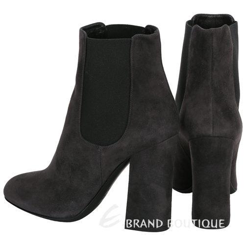 [ NG品 大放送 ] DOLCE & GABBANA 深灰色麂皮拼接設計粗跟短靴 1490036-06