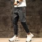 中大尺碼哈倫褲 刺繡牛仔褲男寬鬆大碼夏季薄款拼接彈力藍色九TA6085【極致男人】