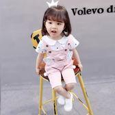 一歲寶寶夏裝女童短袖背帶褲套裝童裝