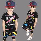 男童夏款套裝2018新款中大兒童夏季街頭塗鴉韓版童套裝 男童裝(8歲以上)