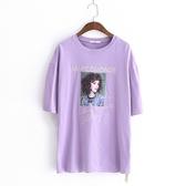 短袖T恤-圓領韓版時尚人物貼布女上衣3色73sy35【巴黎精品】