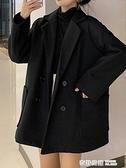 英倫風寬鬆加厚毛呢外套女秋冬新款小個子中長款西裝呢子大衣 奇妙商鋪