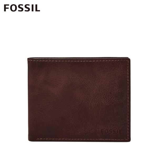FOSSIL DERRICK 經典款LOGO壓印RFID短夾-勃艮第紅 ML4153014