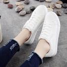 夏季新款皮面小白鞋女繫帶街拍女韓版休閒鞋百搭平底學生板鞋 雙12全館免運