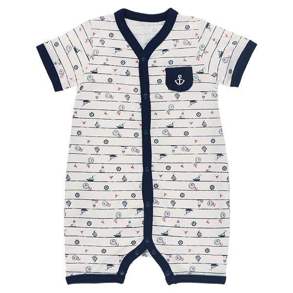 寶寶春夏季短袖連身衣 條紋船苗短袖 連身衣兔裝 (50~70碼) 紗布衣【GC0013】