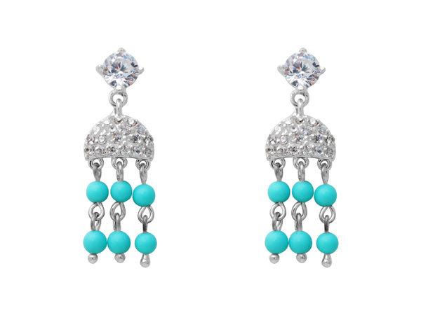 【Follow琺洛銀飾】925純銀耳環 - 耳其石民族風鋯石燈飾耳環
