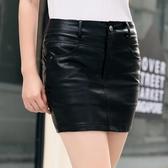 【藍色巴黎】 韓版潮流修身純色高腰包臀PU皮裙防走光短裙/ 皮裙 【23561】