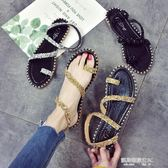 涼鞋女天平底新款學生韓版百搭水鉆夾腳蛇形纏繞韓版女鞋  凱斯盾數位3C