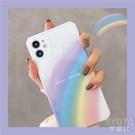 蘋果11手機殼相框彩虹英文iPhone12 promax簡約x/xs全包 【快速出貨】
