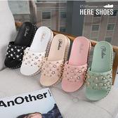[Here Shoes]涼拖鞋-珍珠皮革鞋面 休閒舒適 厚底跟高4cm 一字拖鞋 涼拖鞋─ADW298-5