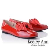 2018  _Keeley Ann 甜美氣息拼接蝴蝶結緞帶懶人平底鞋紅色Ann 系列