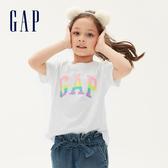 Gap女童 Logo可撥動亮片棉質圓領短袖T恤 552663-光感亮白