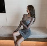 網紗拼接褶皺顯瘦包臀短裙修身打底洋裝2020夏季韓版時尚性感女  聖誕節免運