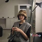 毛絨帽 日系甜美可愛水桶帽秋冬ins網紅豹紋毛絨漁夫帽女保暖加厚盆帽子 6色
