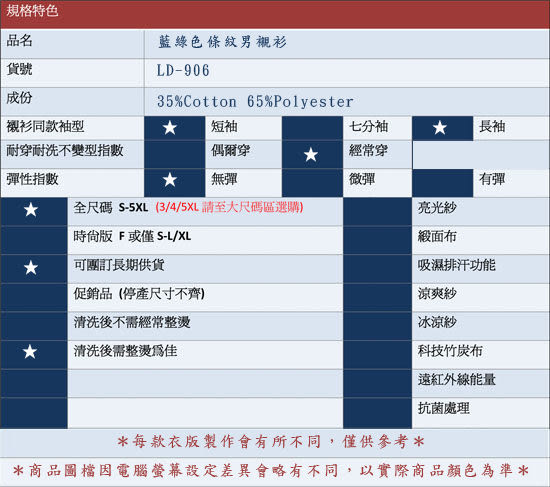 【大尺碼-LD-906】雷利雅-經典辦公室男短袖襯衫(藍綠條紋)