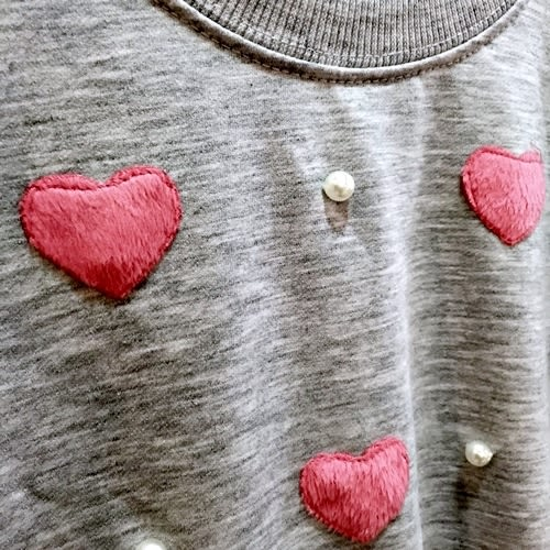 ☆棒棒糖童裝☆秋冬女大童貼布愛心小珠珠長袖上衣 120-160