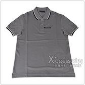 PRADA黑白橡膠LOGO黑白條紋設計純棉短袖POLO衫(S/M/L/鐵灰)