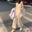 熱賣連體褲 2021年新款韓版百搭法式高腰休閒顯瘦直筒闊腿褲工裝連體褲女 coco