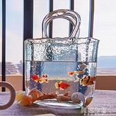 魚缸 包包式花瓶手提籃插花玻璃魚缸擺件客廳小型桌面裝飾造景家用生態 MKS阿薩布魯