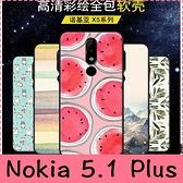 【萌萌噠】諾基亞 Nokia 5.1 Plus 文藝彩繪磨砂 卡通塗鴉 全包磨砂軟殼 超薄防指紋 手機殼 手機套