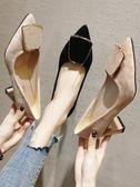 法式高跟鞋女百搭學生尖頭復古粗跟單鞋黑色女鞋 格蘭小舖