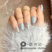 假指甲/顯白淺藍 灰格紋美甲貼片 成品美甲 短款 辦工「歐洲站」