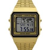 CASIO手錶 復刻方型地圖金色鋼錶NECE53
