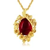 鍍金復古民族風女士紅寶石馬來玉吊墜項鍊越南沙金母親節情人禮物